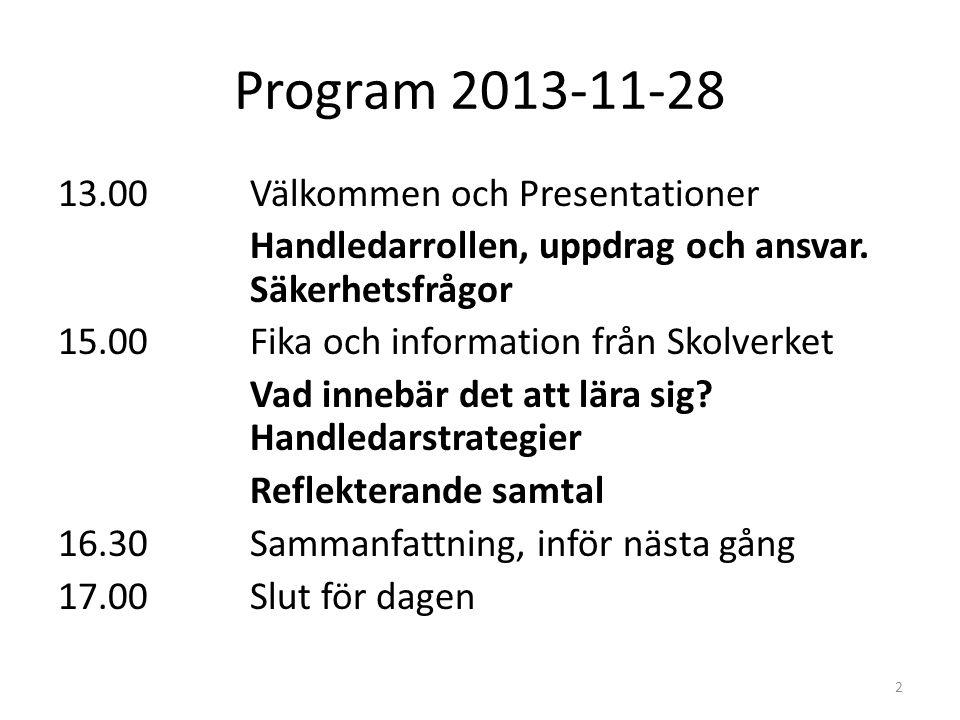 Program 2013-11-28 13.00Välkommen och Presentationer Handledarrollen, uppdrag och ansvar. Säkerhetsfrågor 15.00Fika och information från Skolverket Va