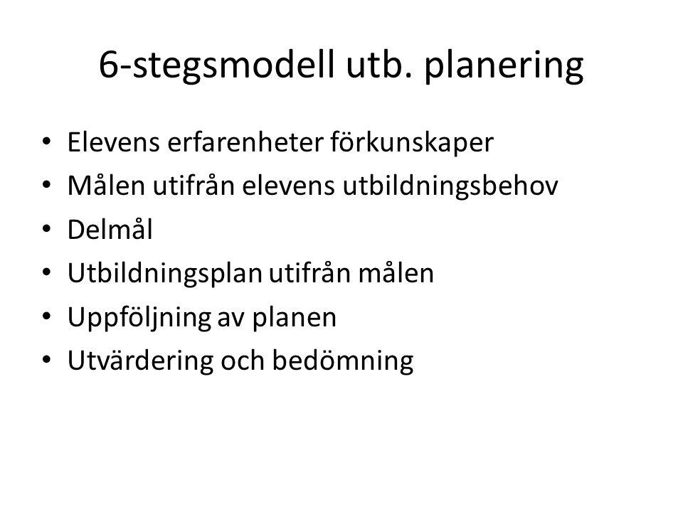 6-stegsmodell utb. planering Elevens erfarenheter förkunskaper Målen utifrån elevens utbildningsbehov Delmål Utbildningsplan utifrån målen Uppföljning