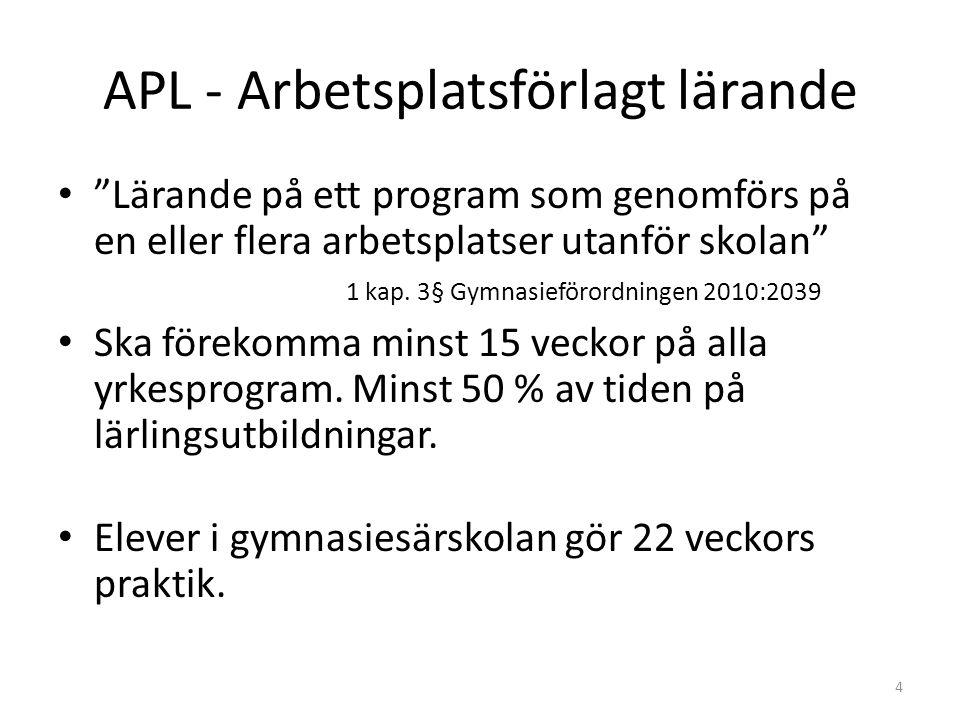 """APL - Arbetsplatsförlagt lärande """"Lärande på ett program som genomförs på en eller flera arbetsplatser utanför skolan"""" 1 kap. 3§ Gymnasieförordningen"""