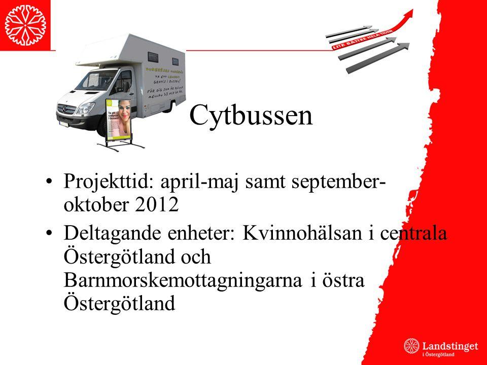 Cytbussen Projekttid: april-maj samt september- oktober 2012 Deltagande enheter: Kvinnohälsan i centrala Östergötland och Barnmorskemottagningarna i östra Östergötland