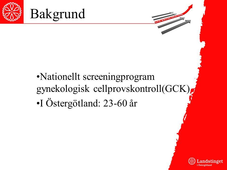Bakgrund Nationellt screeningprogram gynekologisk cellprovskontroll(GCK) I Östergötland: 23-60 år