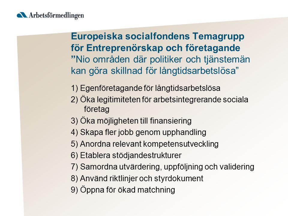 """Europeiska socialfondens Temagrupp för Entreprenörskap och företagande """"Nio områden där politiker och tjänstemän kan göra skillnad för långtidsarbetsl"""