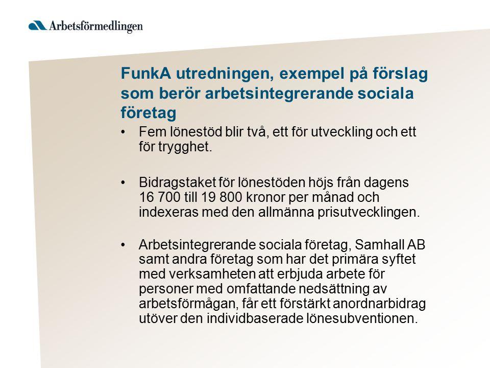 FunkA utredningen, exempel på förslag som berör arbetsintegrerande sociala företag Fem lönestöd blir två, ett för utveckling och ett för trygghet. Bid