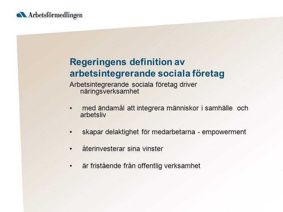 Regeringens definition av arbetsintegrerande sociala företag Arbetsintegrerande sociala företag driver näringsverksamhet med ändamål att integrera män