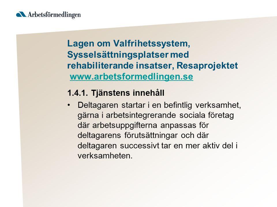 Lagen om Valfrihetssystem, Sysselsättningsplatser med rehabiliterande insatser, Resaprojektet www.arbetsformedlingen.sewww.arbetsformedlingen.se 1.4.1