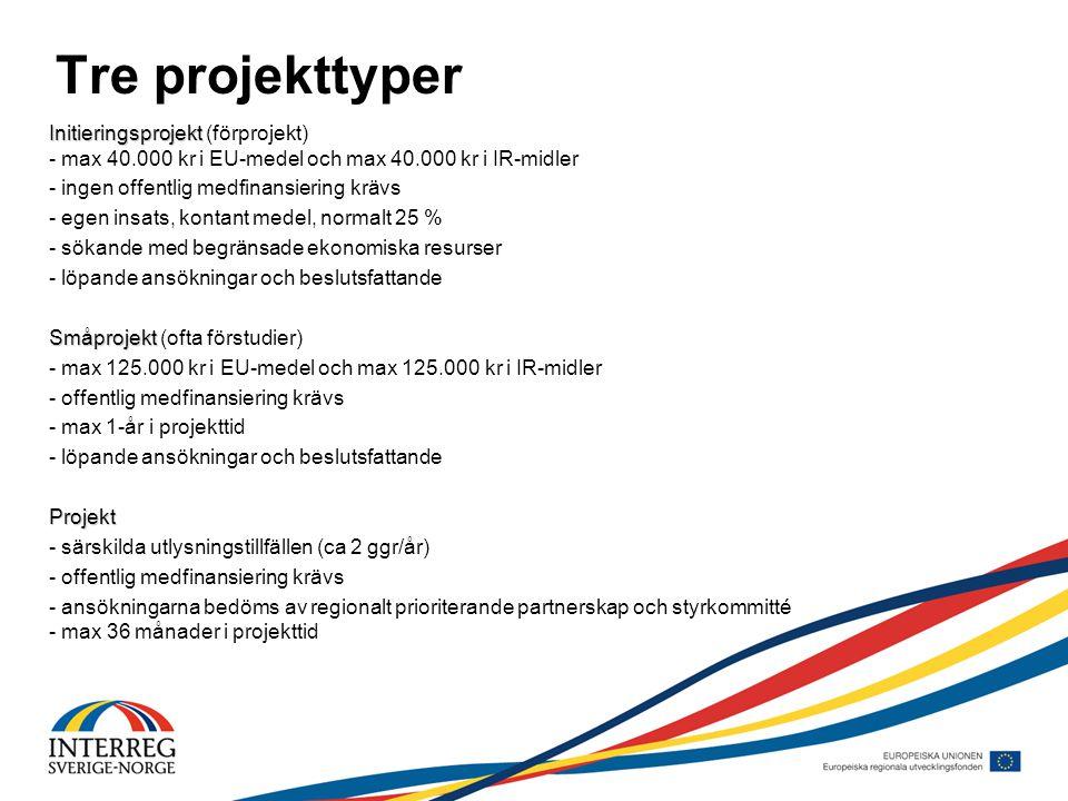 Tre projekttyper Initieringsprojekt Initieringsprojekt (förprojekt) - max 40.000 kr i EU-medel och max 40.000 kr i IR-midler - ingen offentlig medfinansiering krävs - egen insats, kontant medel, normalt 25 % - sökande med begränsade ekonomiska resurser - löpande ansökningar och beslutsfattande Småprojekt Småprojekt (ofta förstudier) - max 125.000 kr i EU-medel och max 125.000 kr i IR-midler - offentlig medfinansiering krävs - max 1-år i projekttid - löpande ansökningar och beslutsfattandeProjekt - särskilda utlysningstillfällen (ca 2 ggr/år) - offentlig medfinansiering krävs - ansökningarna bedöms av regionalt prioriterande partnerskap och styrkommitté - max 36 månader i projekttid