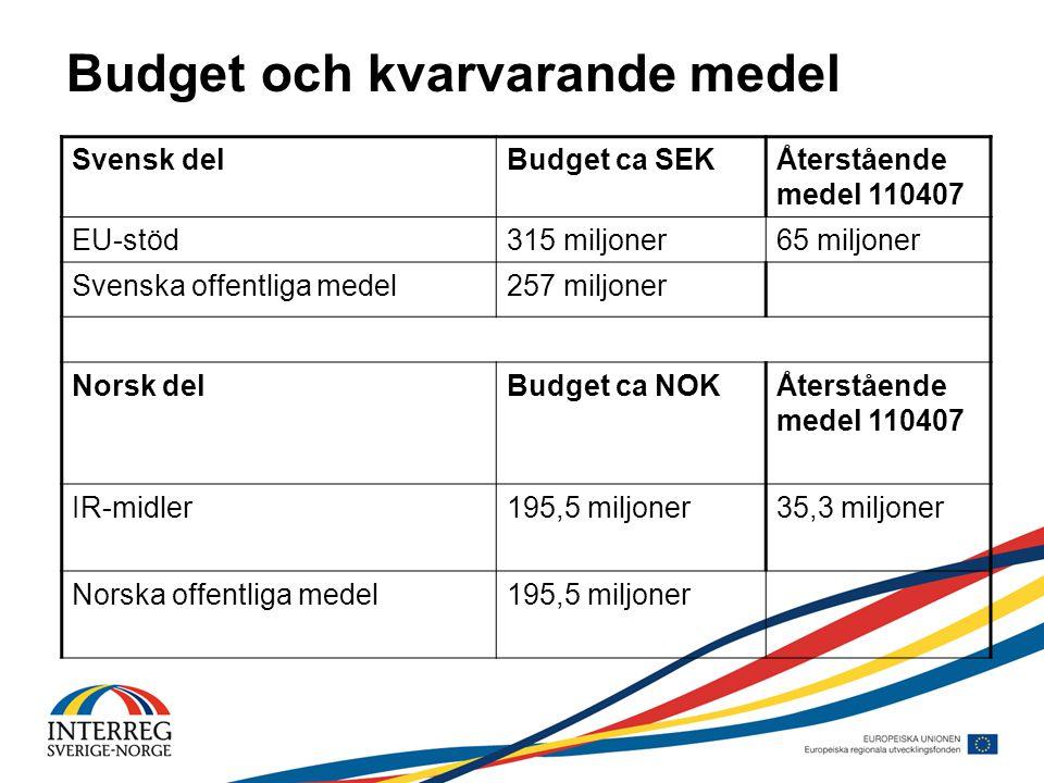 Budget och kvarvarande medel Svensk delBudget ca SEKÅterstående medel 110407 EU-stöd315 miljoner65 miljoner Svenska offentliga medel257 miljoner Norsk delBudget ca NOKÅterstående medel 110407 IR-midler195,5 miljoner35,3 miljoner Norska offentliga medel195,5 miljoner