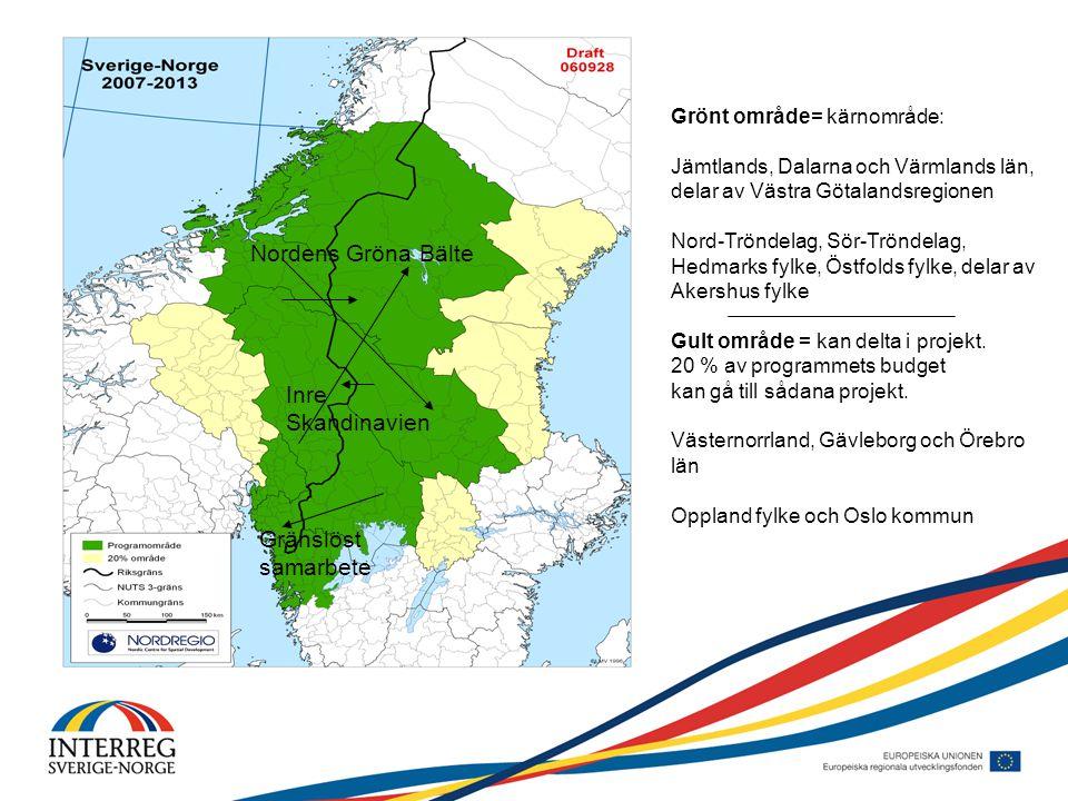Grönt område= kärnområde: Jämtlands, Dalarna och Värmlands län, delar av Västra Götalandsregionen Nord-Tröndelag, Sör-Tröndelag, Hedmarks fylke, Östfolds fylke, delar av Akershus fylke Gult område = kan delta i projekt.