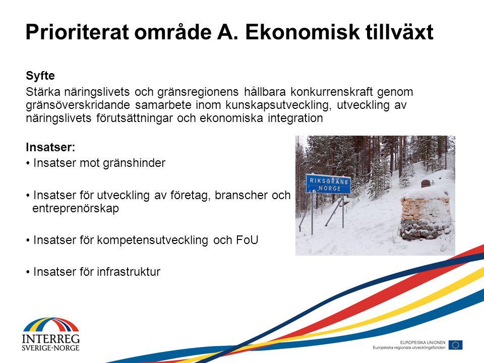 Prioriterat område A. Ekonomisk tillväxt Syfte Stärka näringslivets och gränsregionens hållbara konkurrenskraft genom gränsöverskridande samarbete ino