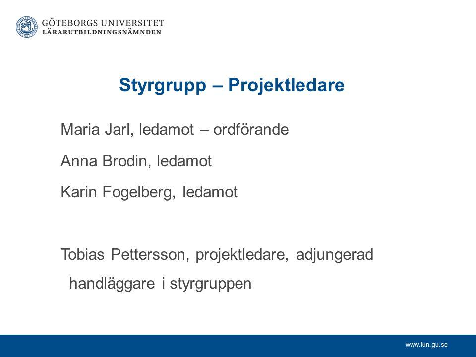 www.lun.gu.se Projektgrupp Estetiska lärprocesser Tarja Häikiö (HDK) Ove Sernhede (IPKL) IKT Bergström Annika (JMG) Lilja Patrik (ITIT) Internationalisering Maria Jansson (Sociologi & arb.vet.) Lotta Huldén (HDK/LUN) Kerstin Ericson (Geovet.) Hållbar utveckling Mikael Olsson (Biologi) Peter Johansson (Globala studier) Inger Björneloo (IDPP)