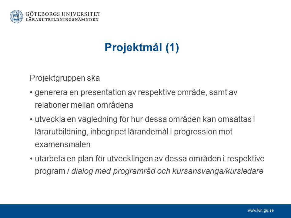 www.lun.gu.se Projektmål (1) Programråd och kursansvariga ska utarbeta en plan för utvecklingen av dessa områden i respektive program i dialog med projektgruppen