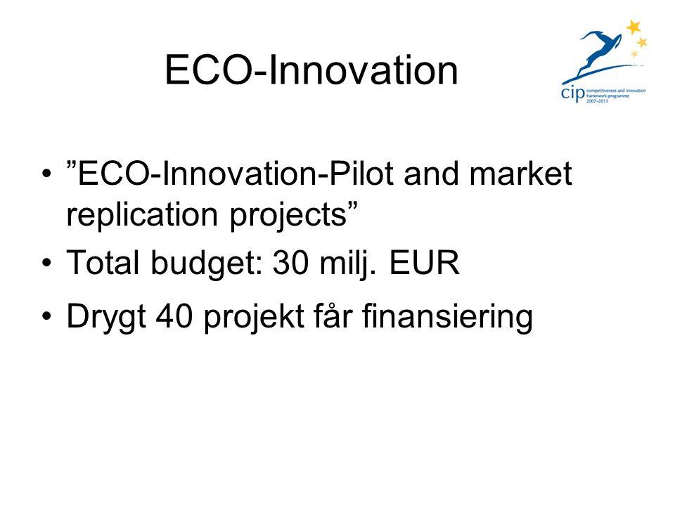 Definition ECO – Innovation – All form av innovation, produkter, tjänster, produktionsprocesser som minskar, hindrar eller behandlar föroreningar eller bidrar till en mer kostnadseffektiv användning och hantering av resurser