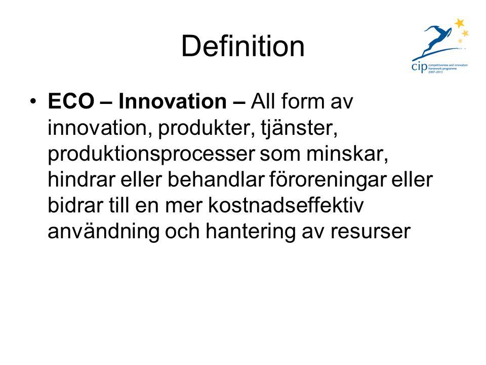 Definition Pilot and market replication projects Innefattar projekt (produkter, tjänster, processer och affärs/ledningsmetoder) som ligger nära en marknadsintroduktion.