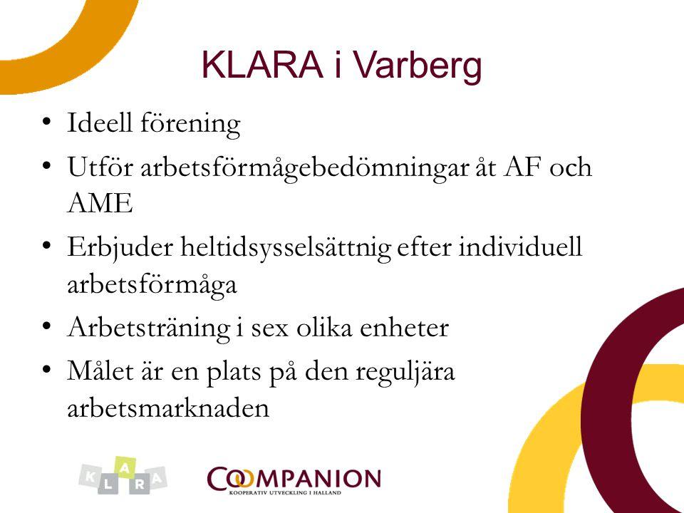 KLARA i Varberg Ideell förening Utför arbetsförmågebedömningar åt AF och AME Erbjuder heltidsysselsättnig efter individuell arbetsförmåga Arbetstränin