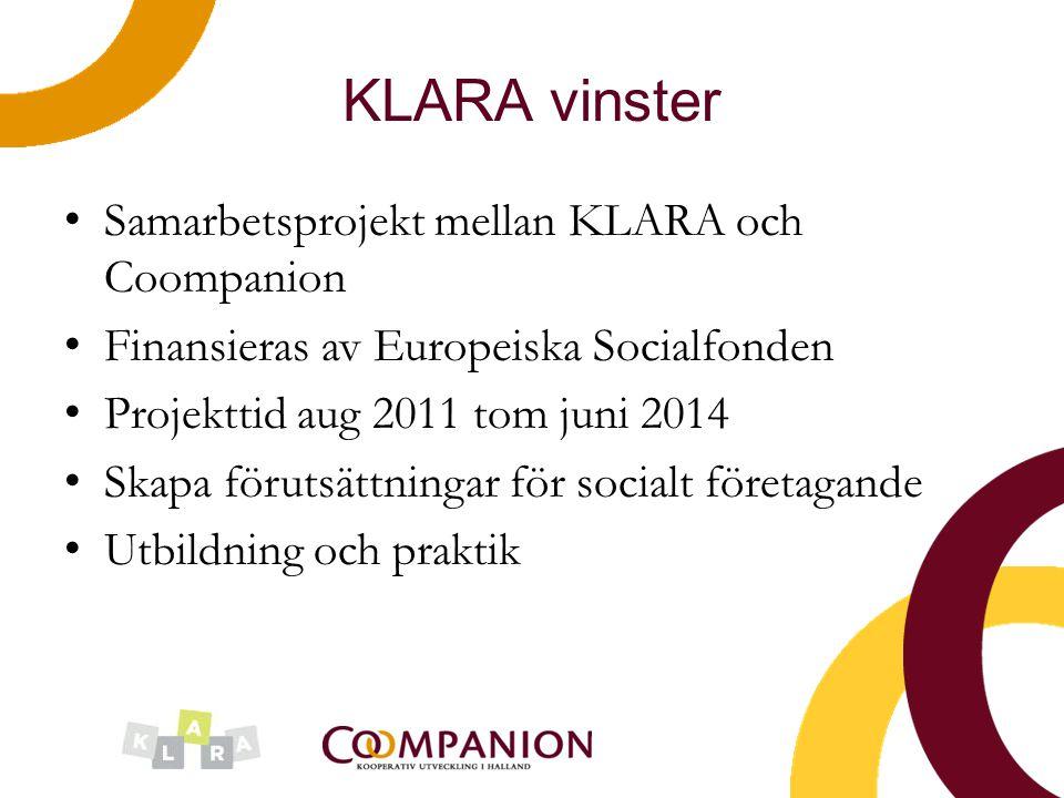 KLARA vinster Samarbetsprojekt mellan KLARA och Coompanion Finansieras av Europeiska Socialfonden Projekttid aug 2011 tom juni 2014 Skapa förutsättnin