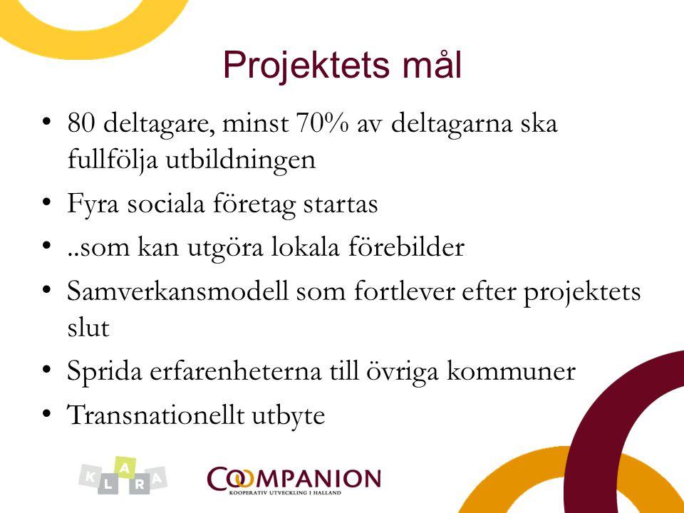 Projektets mål 80 deltagare, minst 70% av deltagarna ska fullfölja utbildningen Fyra sociala företag startas..som kan utgöra lokala förebilder Samverk