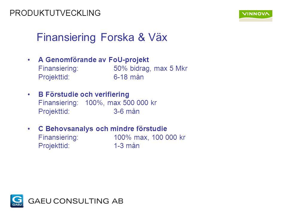 Finansiering Forska & Väx A Genomförande av FoU-projekt Finansiering:50% bidrag, max 5 Mkr Projekttid:6-18 mån B Förstudie och verifiering Finansiering: 100%, max 500 000 kr Projekttid:3-6 mån C Behovsanalys och mindre förstudie Finansiering:100% max, 100 000 kr Projekttid:1-3 mån PRODUKTUTVECKLING