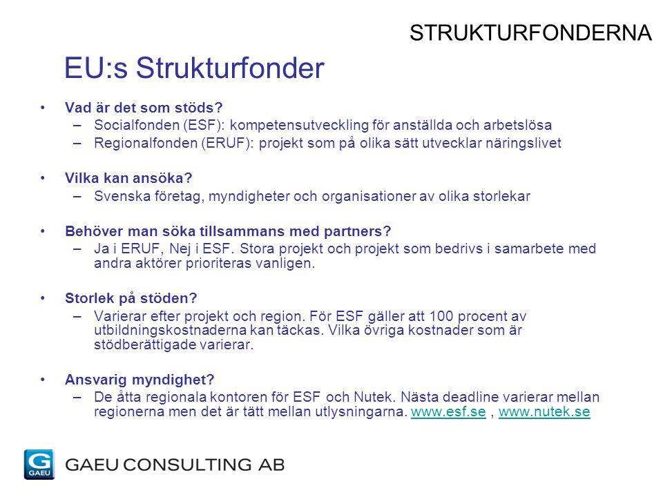 EU:s Strukturfonder Vad är det som stöds? –Socialfonden (ESF): kompetensutveckling för anställda och arbetslösa –Regionalfonden (ERUF): projekt som på