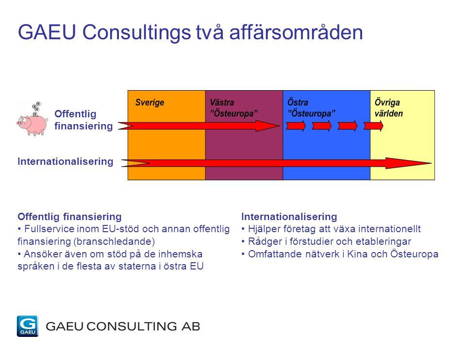 Offentlig finansiering Internationalisering Offentlig finansiering Fullservice inom EU-stöd och annan offentlig finansiering (branschledande) Ansöker