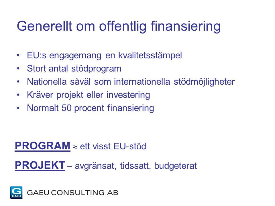 Generellt om offentlig finansiering EU:s engagemang en kvalitetsstämpel Stort antal stödprogram Nationella såväl som internationella stödmöjligheter Kräver projekt eller investering Normalt 50 procent finansiering PROGRAM  ett visst EU-stöd PROJEKT – avgränsat, tidssatt, budgeterat