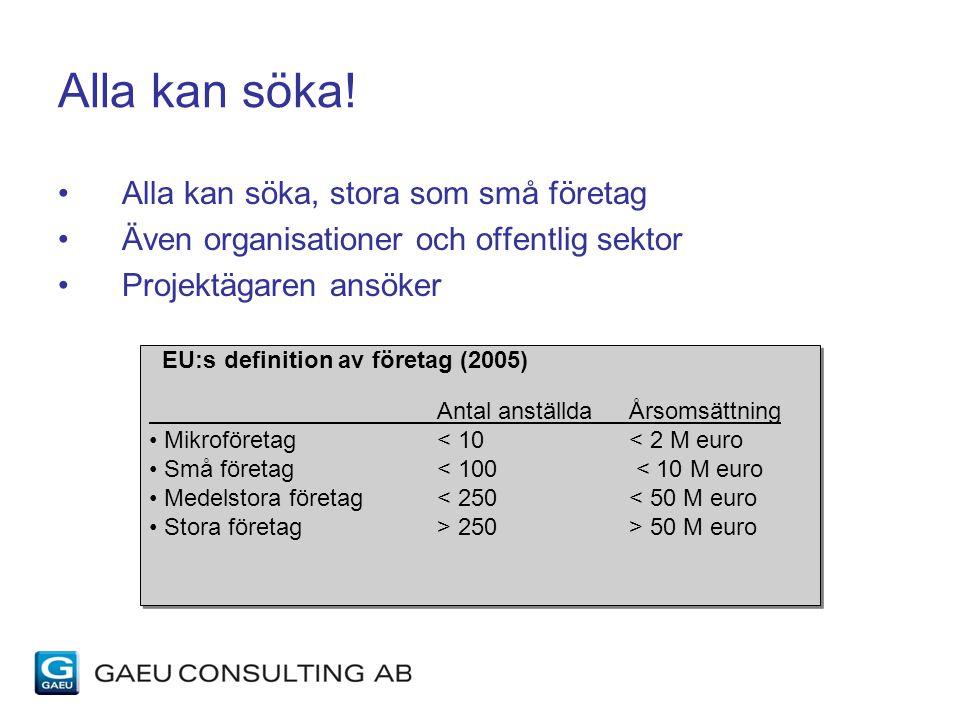 Alla kan söka! Alla kan söka, stora som små företag Även organisationer och offentlig sektor Projektägaren ansöker EU:s definition av företag (2005) A