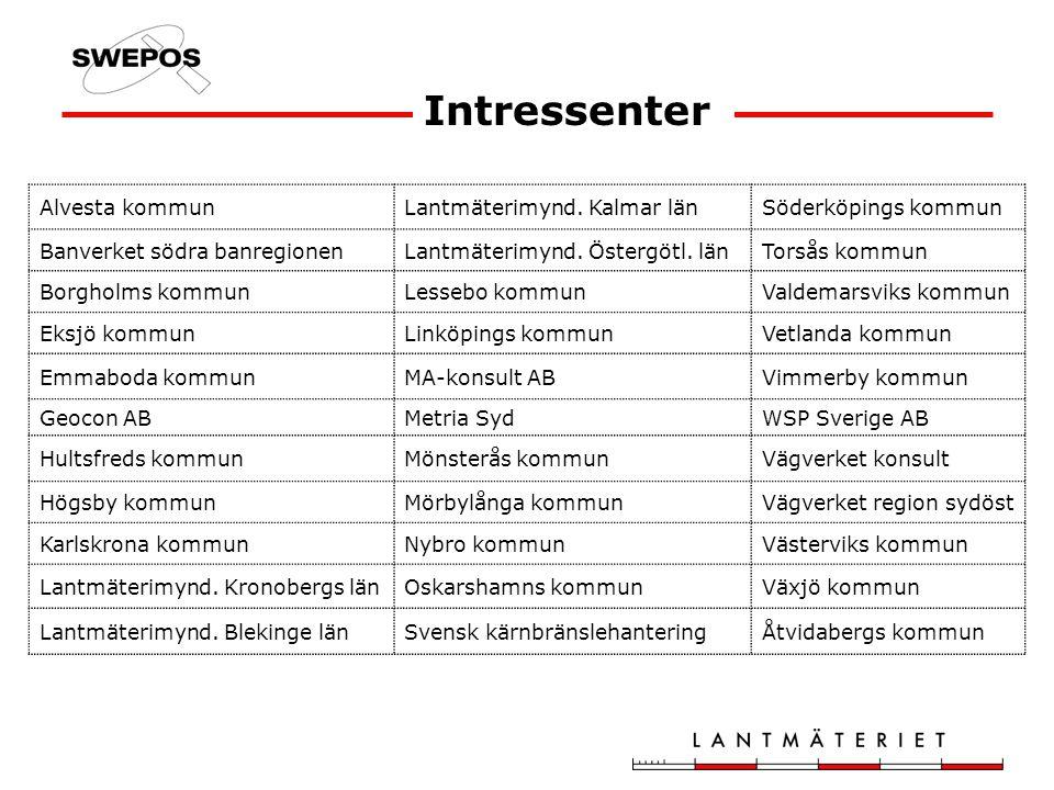 Intressenter Alvesta kommunLantmäterimynd. Kalmar länSöderköpings kommun Banverket södra banregionenLantmäterimynd. Östergötl. länTorsås kommun Borgho
