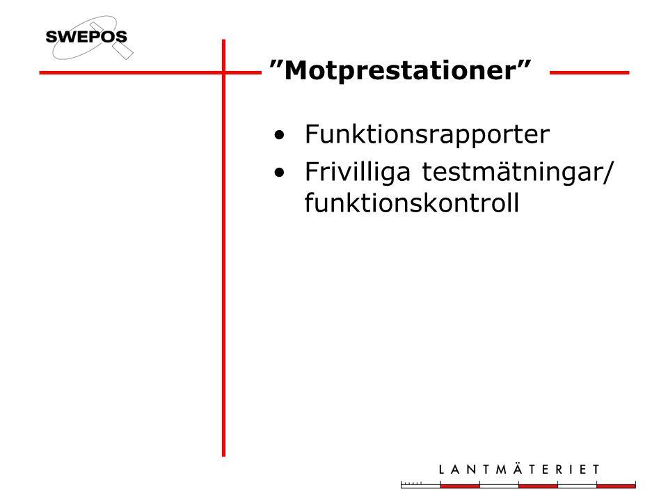 Motprestationer Funktionsrapporter Frivilliga testmätningar/ funktionskontroll