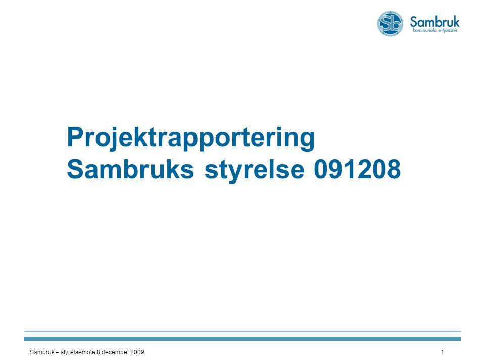Sambruk – styrelsemöte 8 december 20092 Ekonomiskt bistånd - STATUS per den 4 december : ;  tillverkning av 'Multifråga' – mot FK i höst + CSN fr 1 jan - KLART  pilot i Botkyrka i drift sedan mid-okt  Förberedelser för drift i Sundsvall  Förhandling med leverantörer för SHS-synkron nod (SiriusIT, Logica & Mogul Curalia)  Övriga projektdeltagarkommuner startar drifttagning i jan-10  Marknadsföring/erbjudande till alla kommuner  Projektetapp II – tillverkning av 'Multifråga, ver 1.0' AVSLUTAD – projektekonomi nedan  Projektetapp III – vidareutveckling av 'Multifråga' + nyutveckling av e-tjänst m h a UU etapp II - tillverkning VINNOVA-medel 100 000 Kommunernas medfinansiering 649 000 VINNOVA+ medfinansiering 749 000 Utfall 732 977 dec - prognos Budget - utfall 16 023 Överskott - FoU-medel 63 274 BUDGET/UTFALL – etapp I & II etapp I - spec VINNOVA-medel 100 000 Kommunernas medfinansiering 159 000 VINNOVA+ medfinansiering 259 000 Utfall 211 749 Budget - utfall 47 251