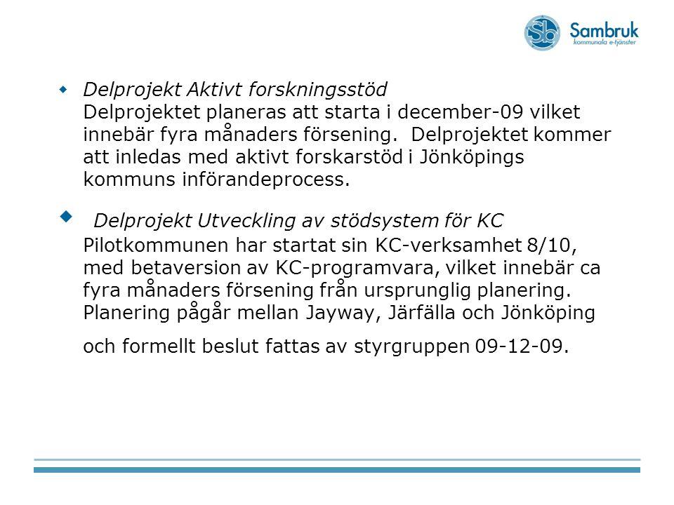  Delprojekt Aktivt forskningsstöd Delprojektet planeras att starta i december-09 vilket innebär fyra månaders försening. Delprojektet kommer att inle