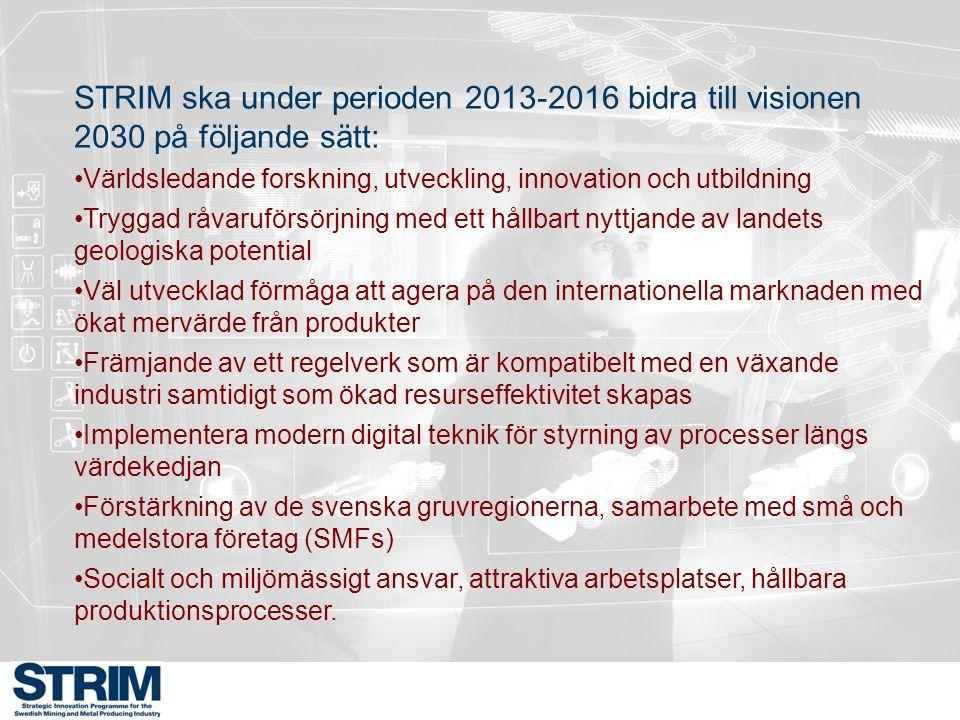STRIM ska under perioden 2013-2016 bidra till visionen 2030 på följande sätt: Världsledande forskning, utveckling, innovation och utbildning Tryggad r
