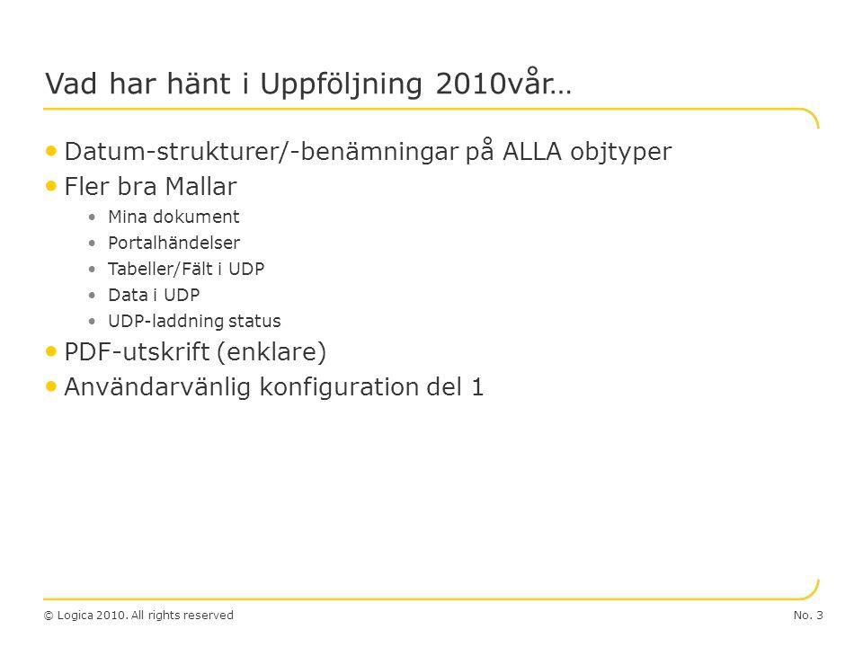 © Logica 2010. All rights reserved Uppföljning 2.0 No. 4 Budget&Progos Uppföljning 2.0