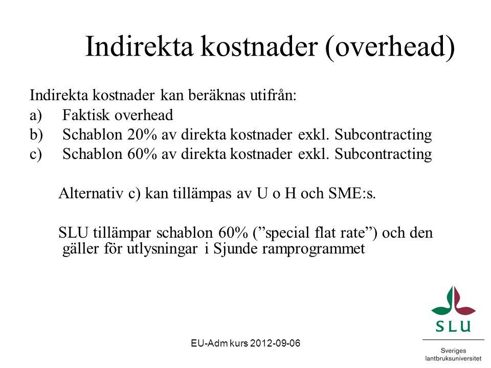 Indirekta kostnader (overhead) Indirekta kostnader kan beräknas utifrån: a)Faktisk overhead b)Schablon 20% av direkta kostnader exkl.