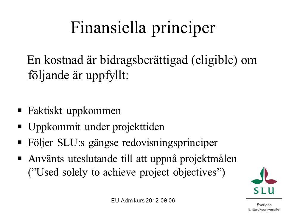 Finansiella principer En kostnad är bidragsberättigad (eligible) om följande är uppfyllt:  Faktiskt uppkommen  Uppkommit under projekttiden  Följer SLU:s gängse redovisningsprinciper  Använts uteslutande till att uppnå projektmålen ( Used solely to achieve project objectives ) EU-Adm kurs 2012-09-06