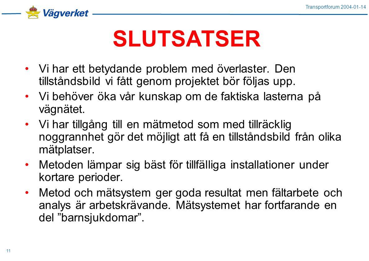 Transportforum 2004-01-14 11 SLUTSATSER Vi har ett betydande problem med överlaster.