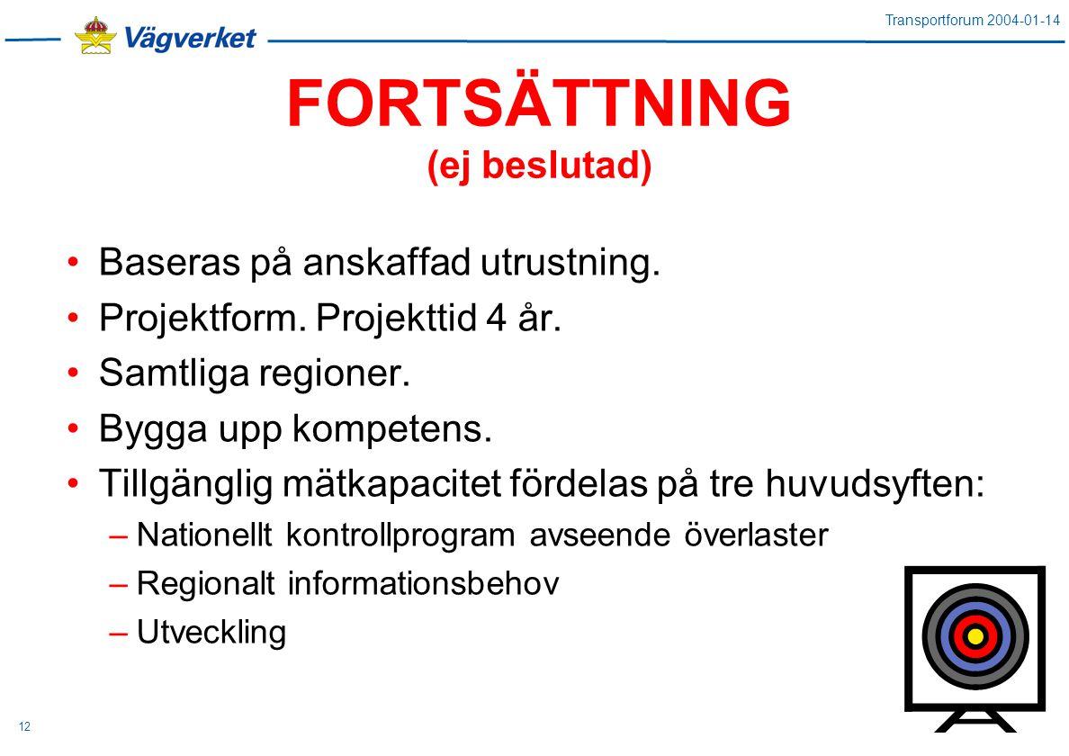 Transportforum 2004-01-14 12 FORTSÄTTNING (ej beslutad) Baseras på anskaffad utrustning.