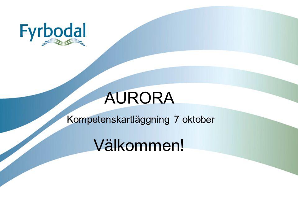 AURORA Kompetenskartläggning 7 oktober Välkommen!