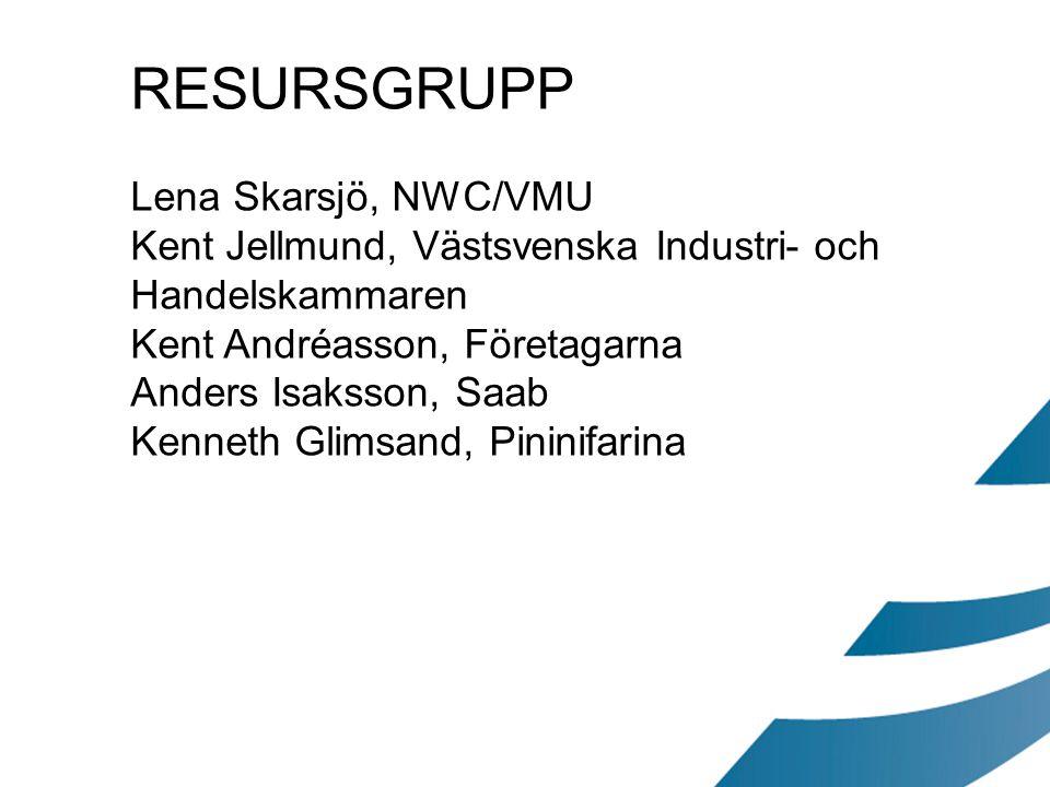 RESURSGRUPP Lena Skarsjö, NWC/VMU Kent Jellmund, Västsvenska Industri- och Handelskammaren Kent Andréasson, Företagarna Anders Isaksson, Saab Kenneth