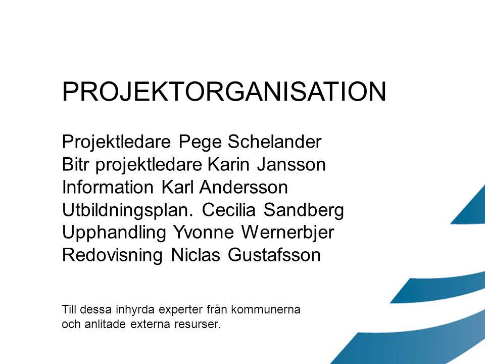 PROJEKTORGANISATION Projektledare Pege Schelander Bitr projektledareKarin Jansson Information Karl Andersson Utbildningsplan. Cecilia Sandberg Upphand