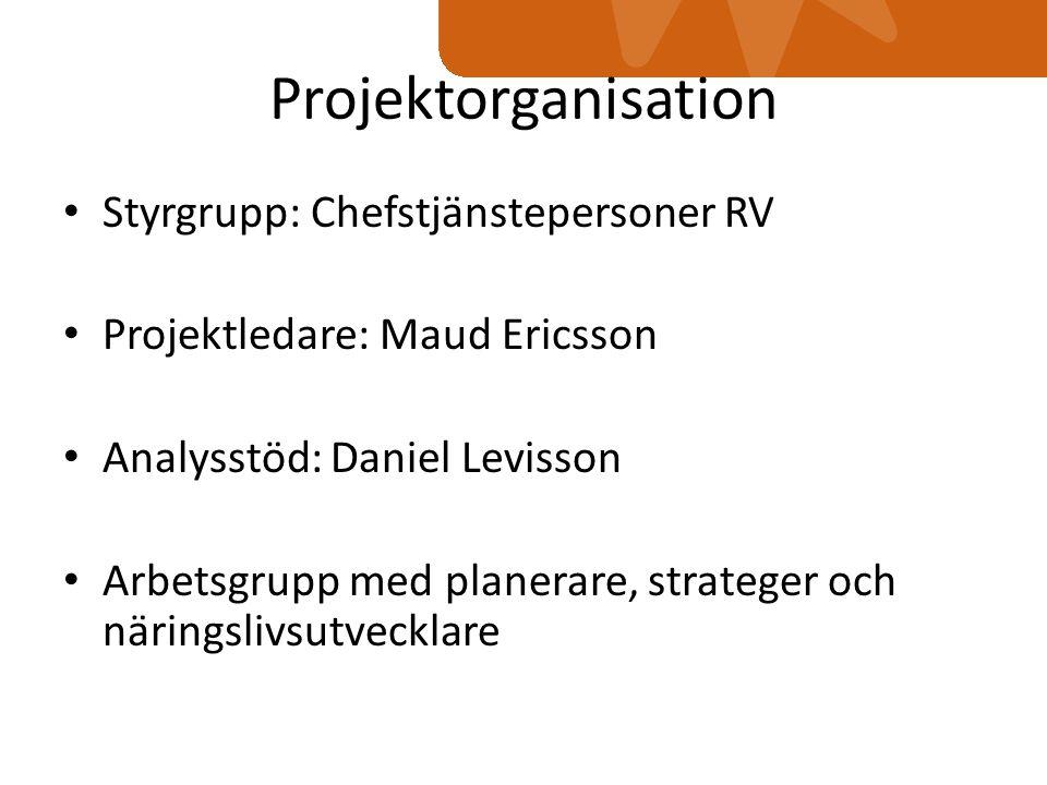 Projektorganisation Styrgrupp: Chefstjänstepersoner RV Projektledare: Maud Ericsson Analysstöd: Daniel Levisson Arbetsgrupp med planerare, strateger och näringslivsutvecklare