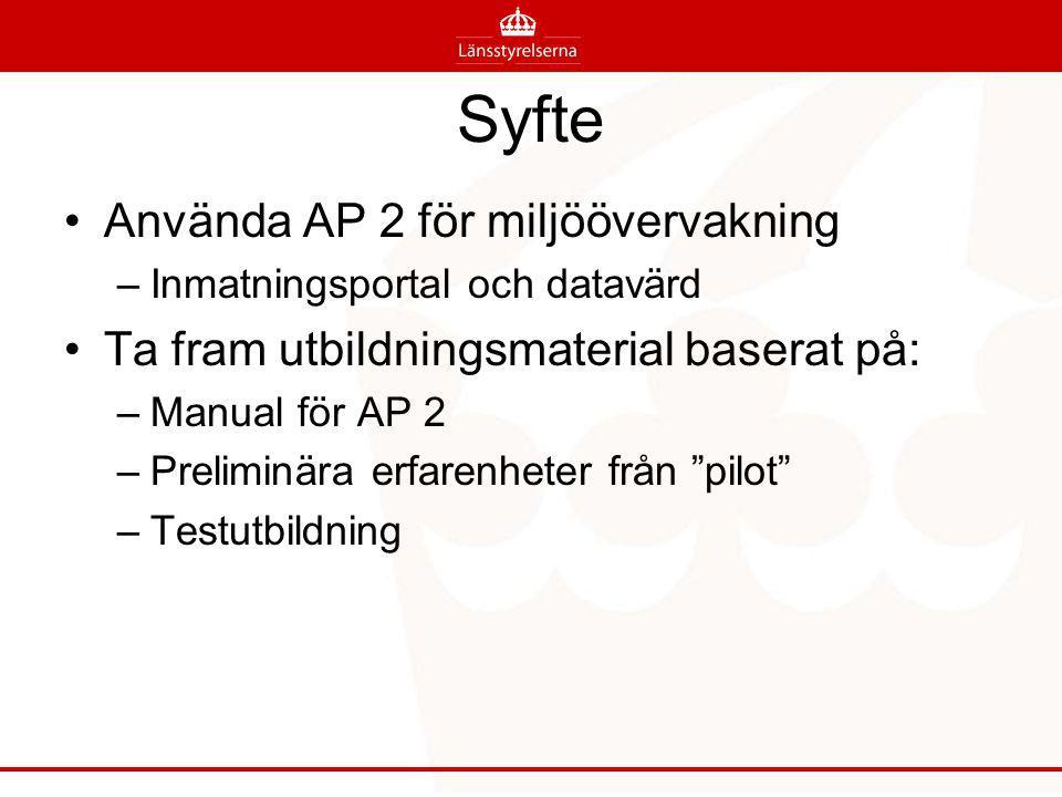 Syfte Använda AP 2 för miljöövervakning –Inmatningsportal och datavärd Ta fram utbildningsmaterial baserat på: –Manual för AP 2 –Preliminära erfarenheter från pilot –Testutbildning