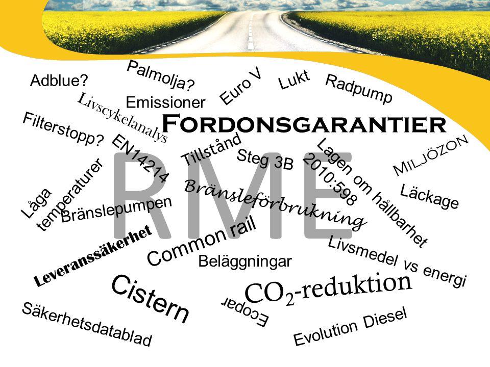 RME Filterstopp? Lagen om hållbarhet 2010:598 Låga temperaturer Bränsleförbrukning Tillstånd Fordonsgarantier Lukt Bränslepumpen EN14214 Leveranssäker