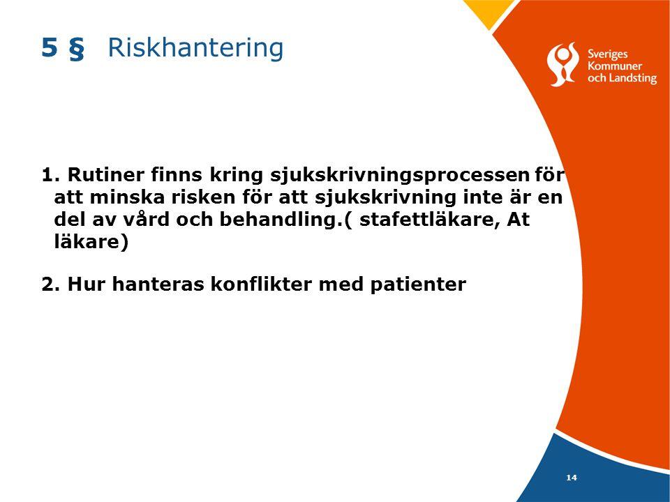 14 5 §Riskhantering 1. Rutiner finns kring sjukskrivningsprocessen för att minska risken för att sjukskrivning inte är en del av vård och behandling.(