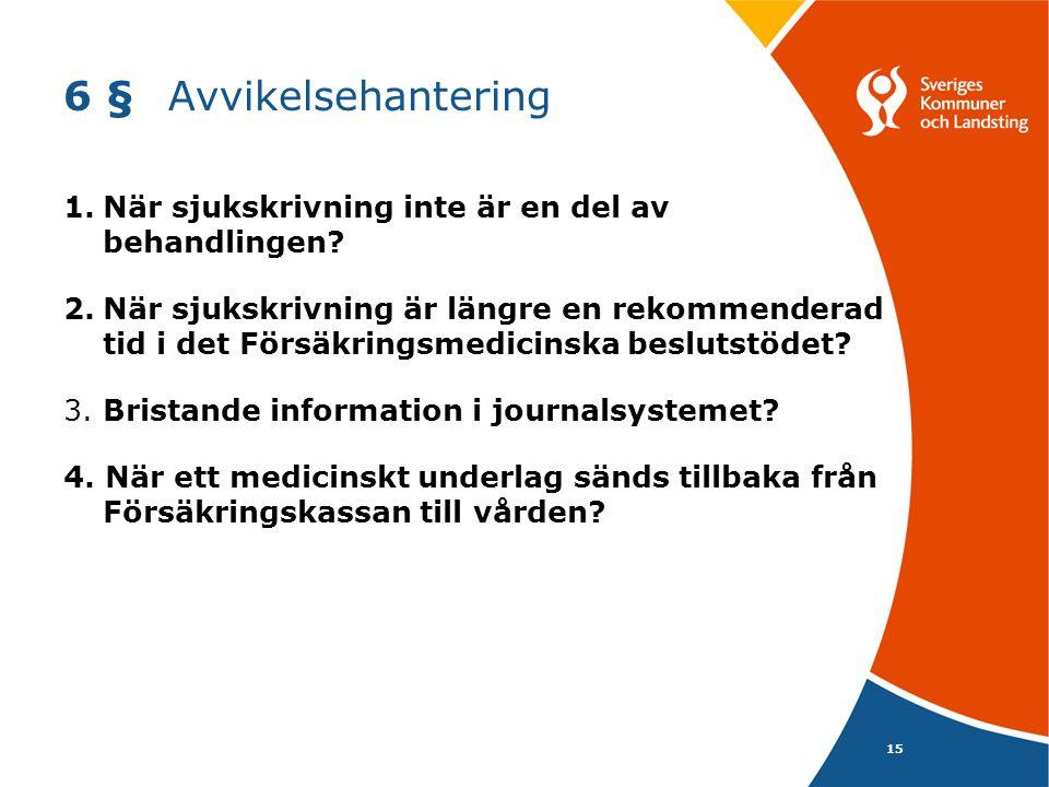 15 6 §Avvikelsehantering 1.När sjukskrivning inte är en del av behandlingen? 2.När sjukskrivning är längre en rekommenderad tid i det Försäkringsmedic