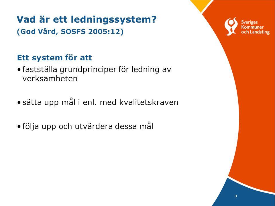 3 Vad är ett ledningssystem? (God Vård, SOSFS 2005:12) Ett system för att fastställa grundprinciper för ledning av verksamheten sätta upp mål i enl. m