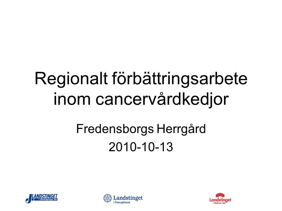 Regionalt förbättringsarbete inom cancervårdkedjor Fredensborgs Herrgård 2010-10-13