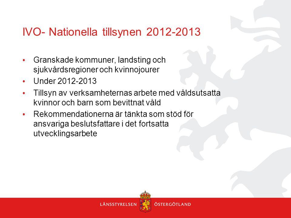 IVO- Nationella tillsynen 2012-2013 Granskade kommuner, landsting och sjukvårdsregioner och kvinnojourer Under 2012-2013 Tillsyn av verksamheternas ar