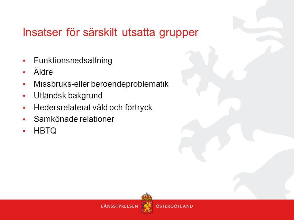 Insatser för särskilt utsatta grupper Funktionsnedsättning Äldre Missbruks-eller beroendeproblematik Utländsk bakgrund Hedersrelaterat våld och förtry