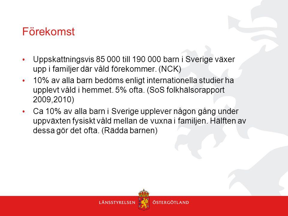 Förekomst Uppskattningsvis 85 000 till 190 000 barn i Sverige växer upp i familjer där våld förekommer. (NCK) 10% av alla barn bedöms enligt internati