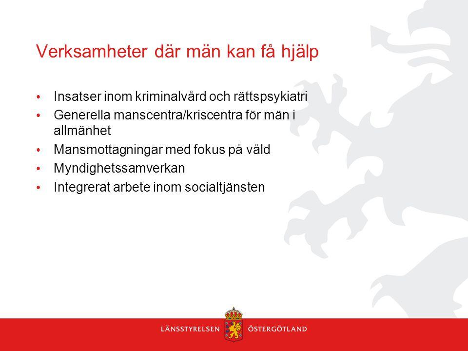Verksamheter där män kan få hjälp Insatser inom kriminalvård och rättspsykiatri Generella manscentra/kriscentra för män i allmänhet Mansmottagningar m