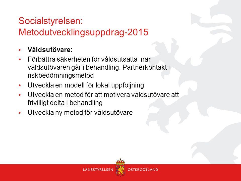 Socialstyrelsen: Metodutvecklingsuppdrag-2015 Våldsutövare: Förbättra säkerheten för våldsutsatta när våldsutövaren går i behandling. Partnerkontakt +